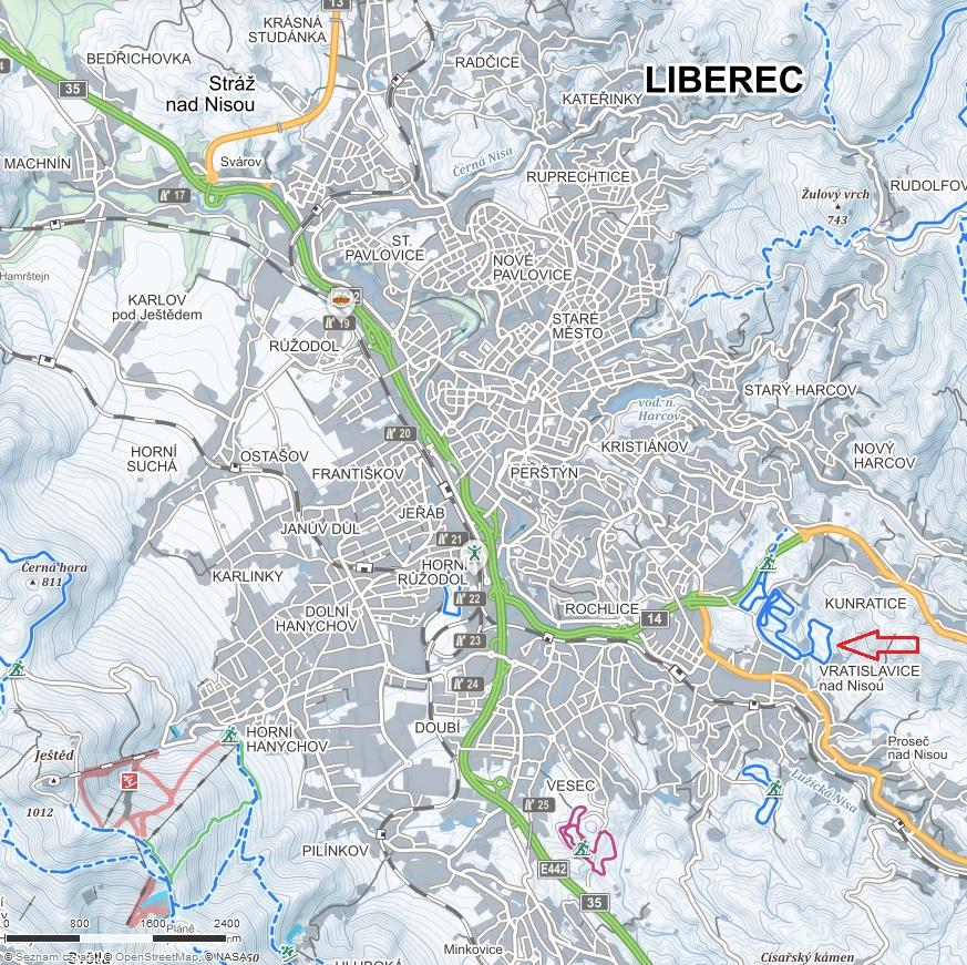 Zimní mapa Liberce s vyznačením Vratislavic