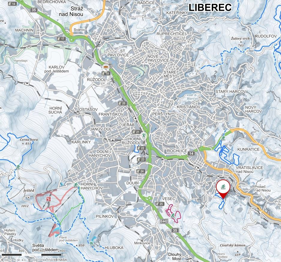 Zimní mapa Liberce s vyznačením Mojžíšova pramene
