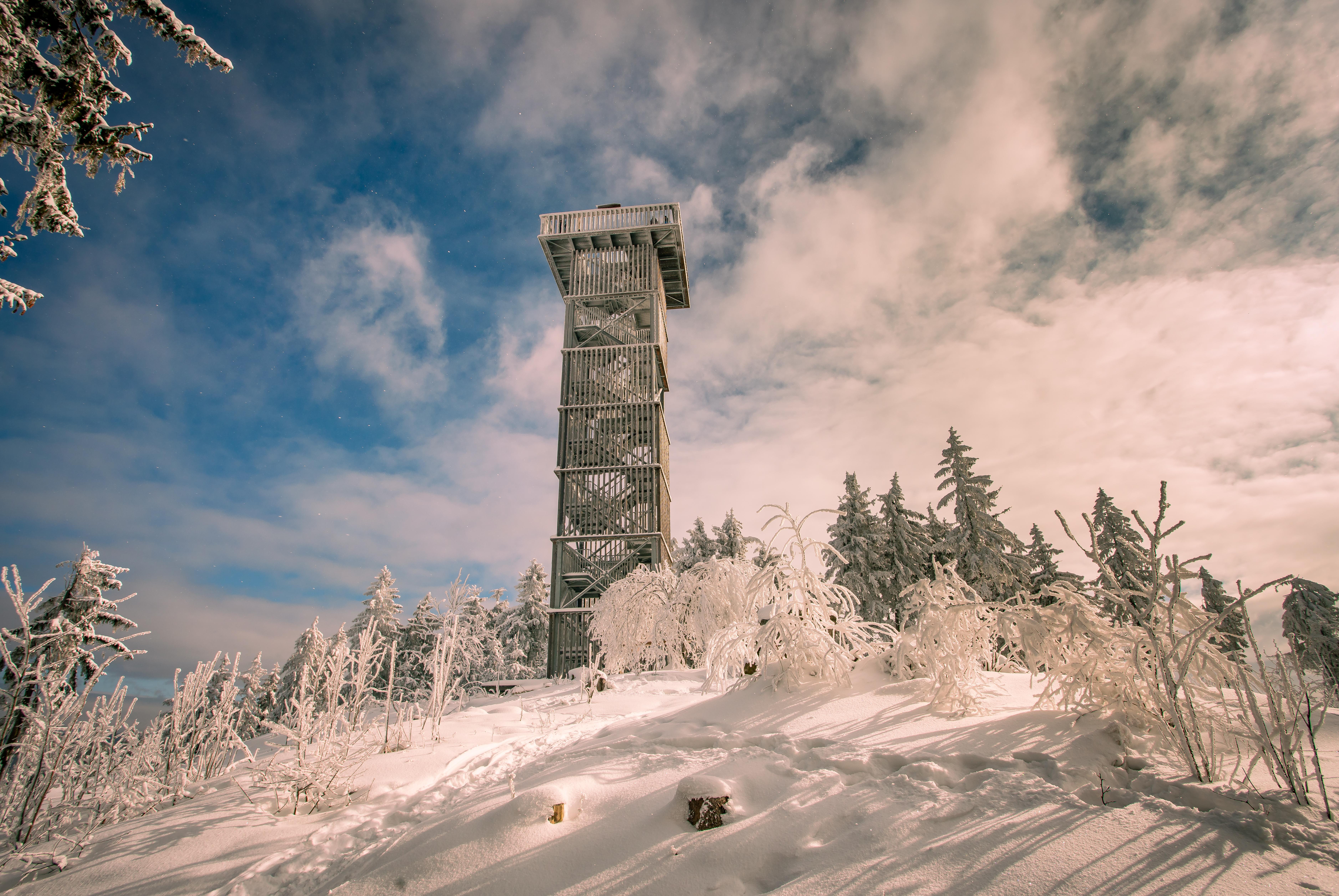 Císařský kámen rozhledna zima